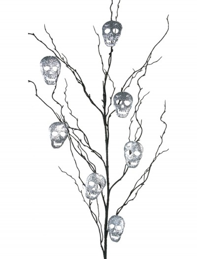 "50"" Black Glitter Branch w/Silver Skulls buy now"