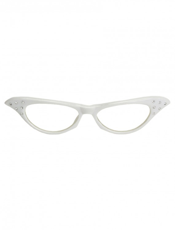 50s White Rhinestone Glasses buy now