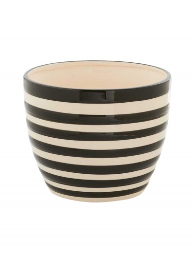 6 Inch Black and White Ceramic Striped Pot buy now