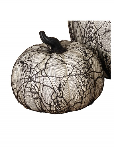 7.7 Inch White Resin Pumpkin with Spider Web Lace Covering buy now
