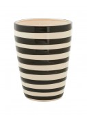 8.5 Inch Black and White Ceramic Striped Pot buy now