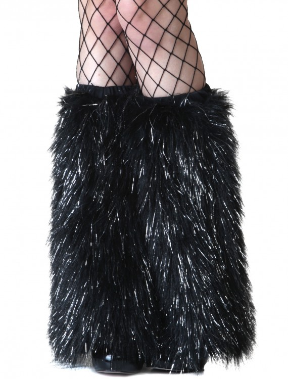Adult Black and Silver Furry Boot Covers buy now