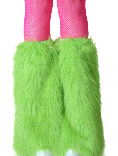 Adult Green Furry Boot Covers buy now