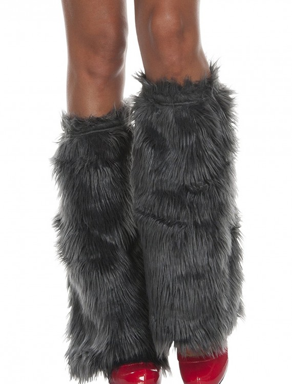 Adult Grey Furry Boot Covers buy now