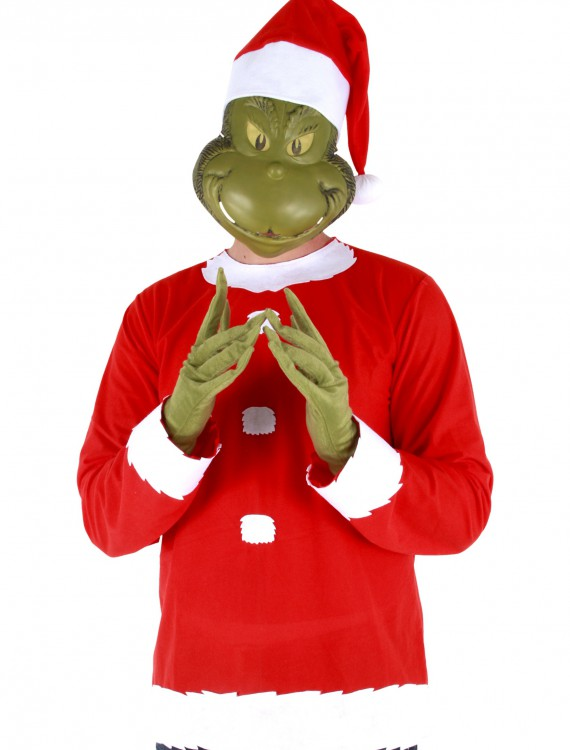 Adult Grinch Costume Top Hat and Half Mask buy now