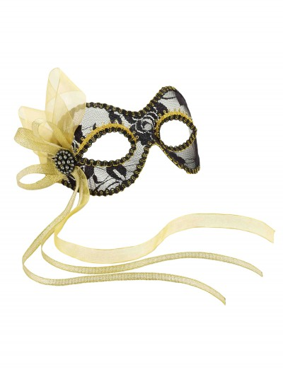 Black and Gold Lace Mardi Gras Mask buy now