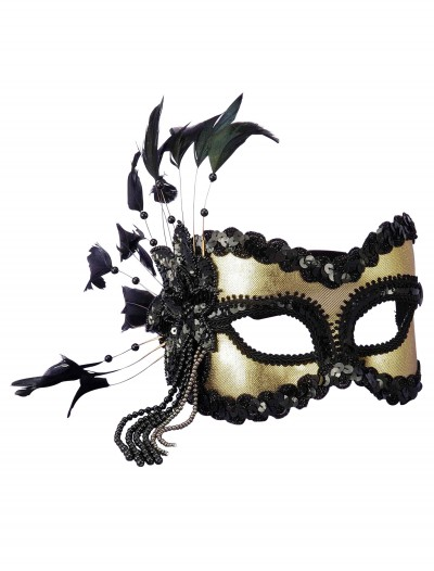 Black and Gold Sequin and Feather Mardi Gras Mask buy now