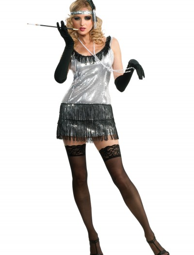Black and Silver Sequin Flapper Costume buy now