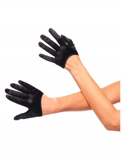 Black Cropped Satin Gloves buy now