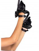 Black Cropped Satin Ruffle Gloves buy now