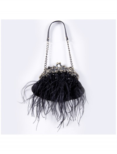 Black Feather Bag with Chain buy now