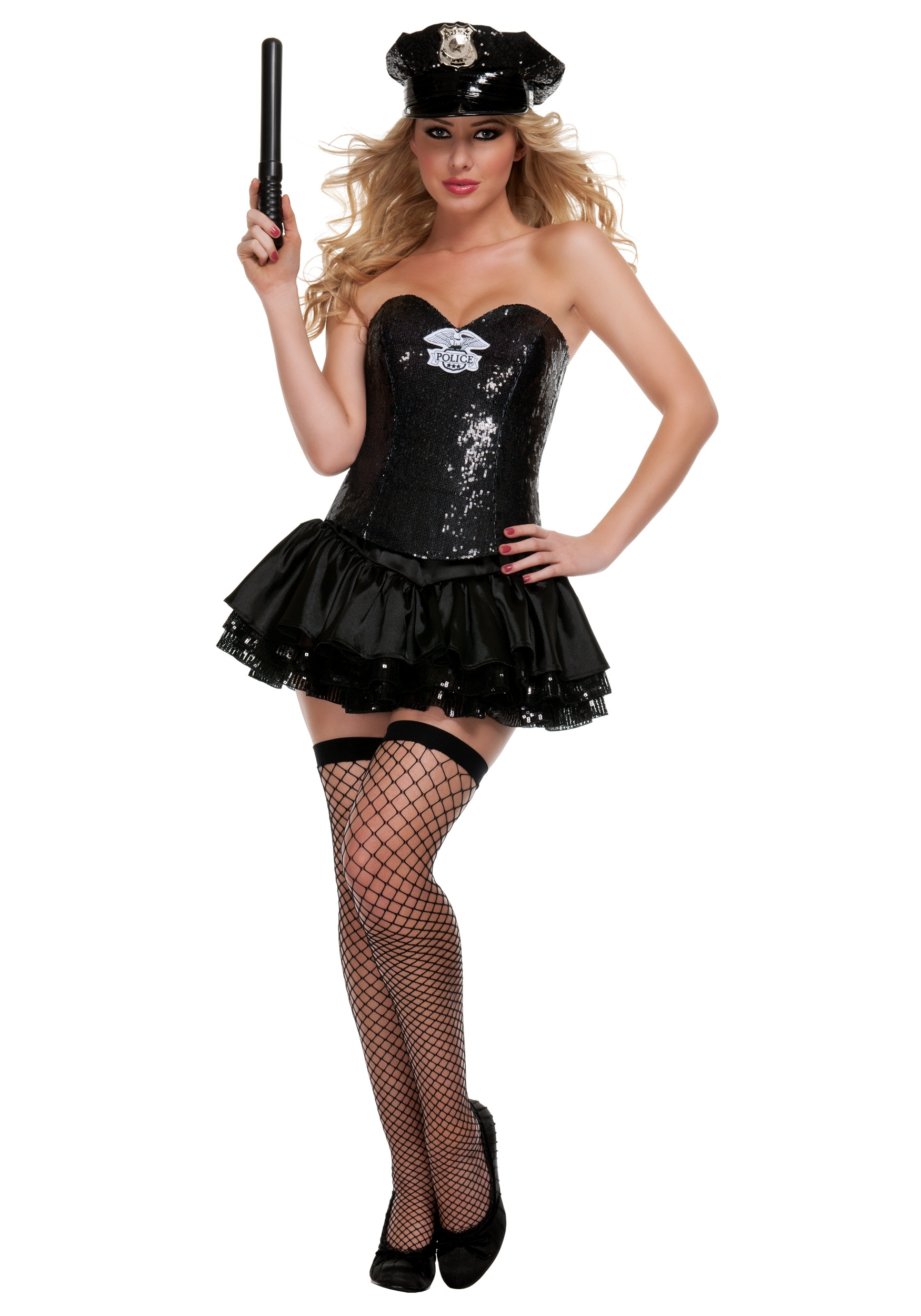 Black Sequin Cop Costume  sc 1 st  Halloween Costumes & Black Sequin Cop Costume - Halloween Costumes