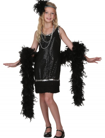 Child Black Sequin and Fringe Flapper Costume buy now