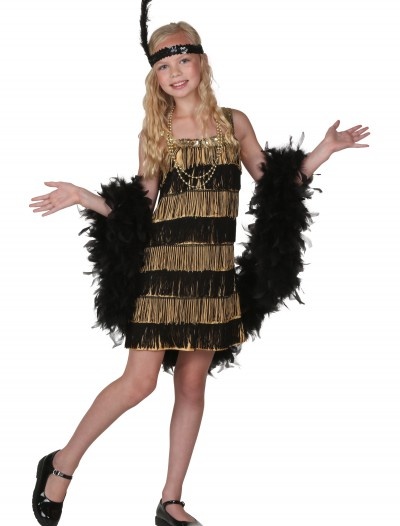 Child Gold and Black Fringe Flapper Costume buy now