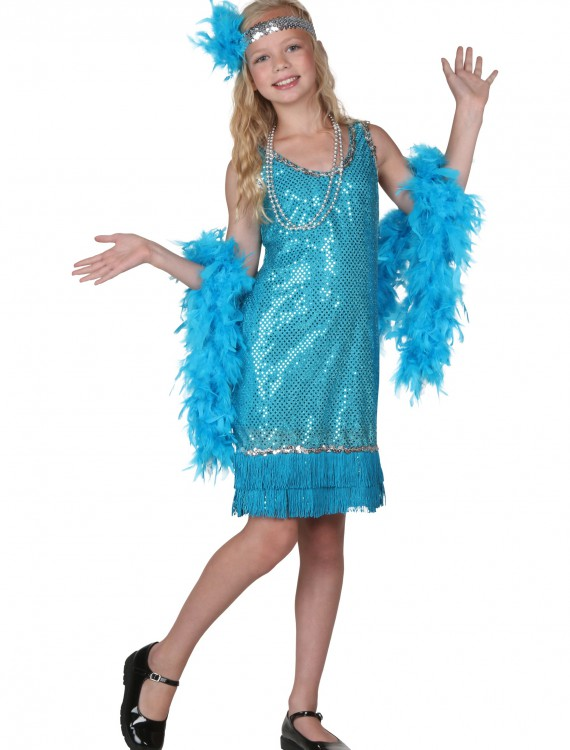 Child Turquoise Sequin and Fringe Flapper Costume buy now