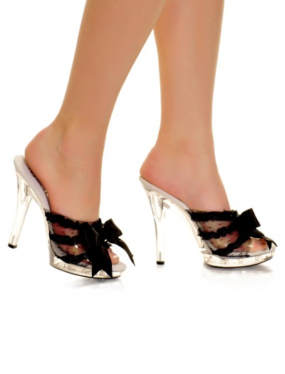 Clear Peep Toe Heel with Black Ribbon buy now