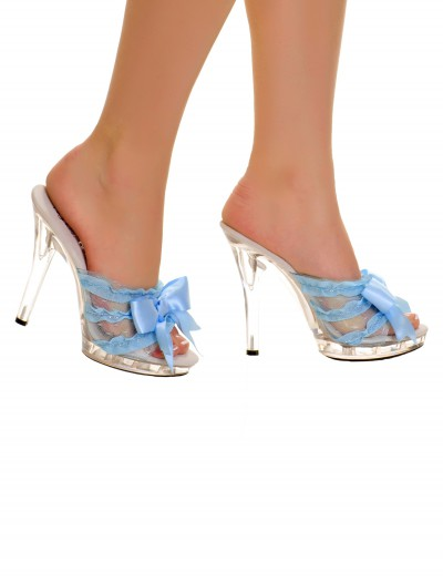 Clear Slip In Peep Toe Heels w/ Blue Ribbon buy now