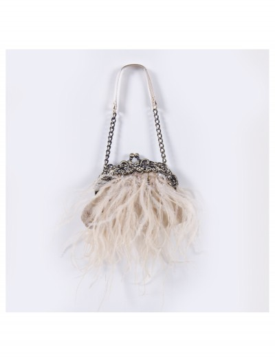 Cream Feather Bag with Chain buy now