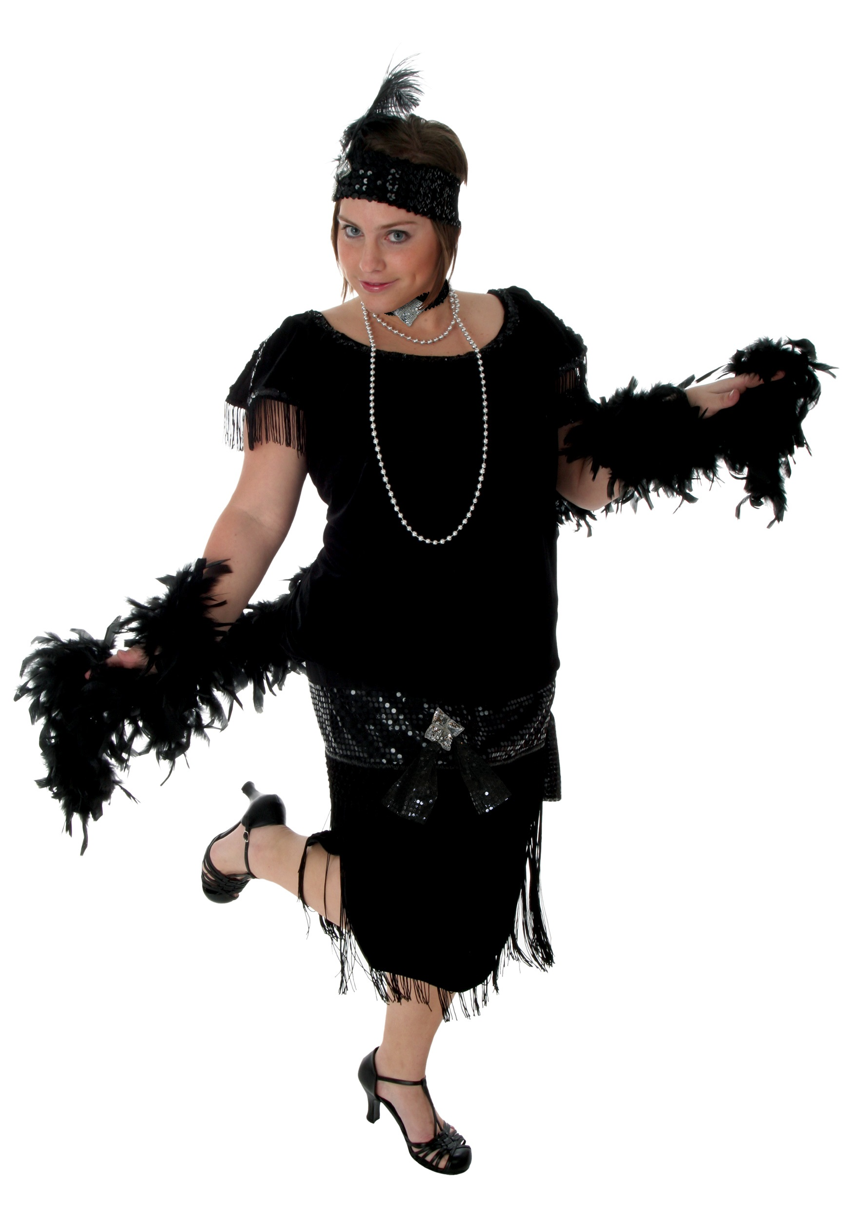 Deluxe Black Plus Size Flapper - Halloween Costumes