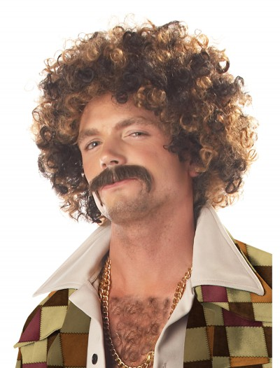 Disco Dirt Bag Wig and Mustache buy now