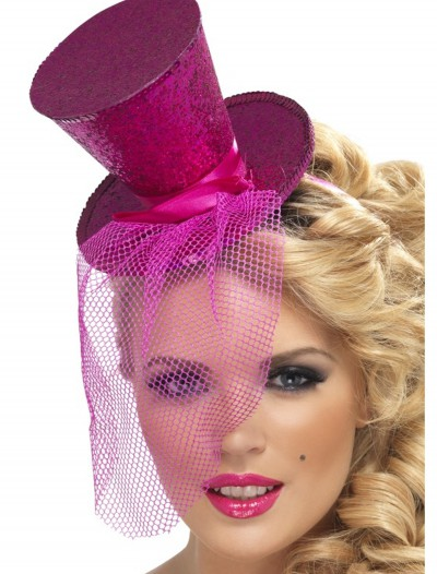 Fever Hot Pink Glitter Mini Top Hat buy now