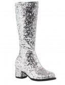 Girls Silver Glitter Go-Go Boots buy now
