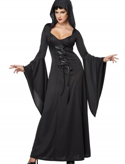 Women's Hooded Black Lace Up Robe buy now