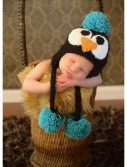 Infant Black Feather Penguin Hat with Blue Accents buy now