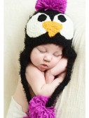 Infant Black Feather Penguin Hat with Pink Accents buy now