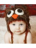 Infant Brown Yarn Owl Hat buy now