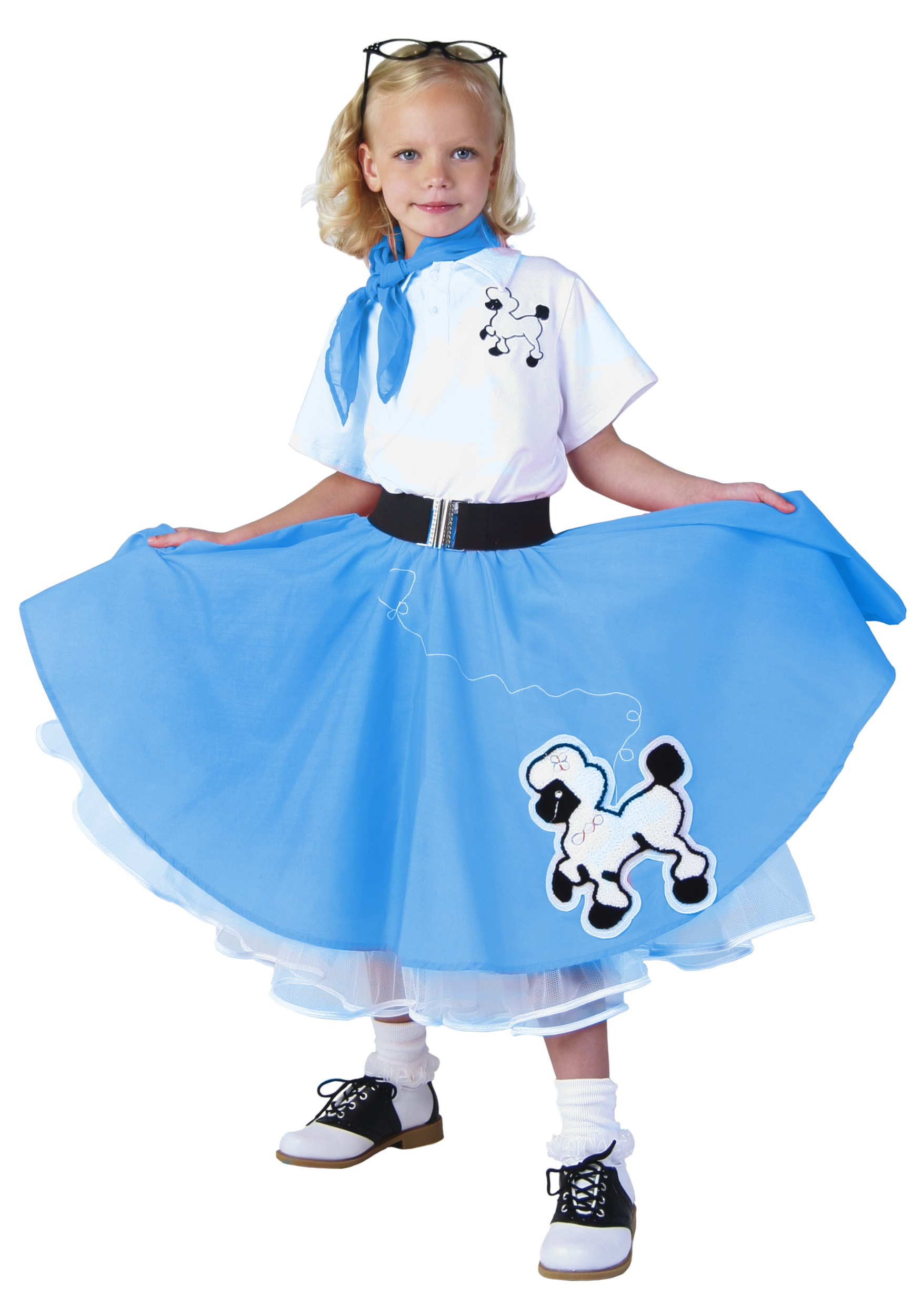 kids deluxe blue poodle skirt costume - halloween costumes