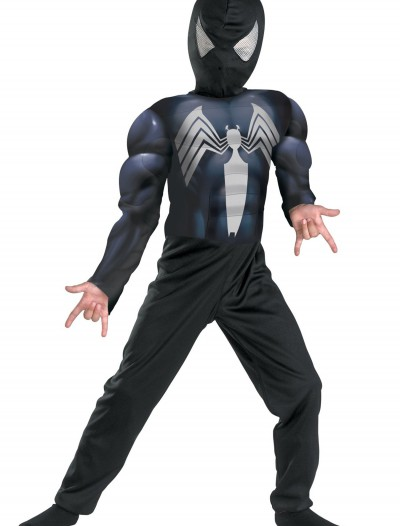 Kids Muscle Chest Black Spiderman Costume buy now