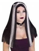 Long Black and White Streaked Wig buy now