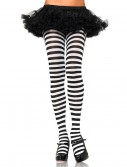 Plus Size Black / White Striped Tights buy now
