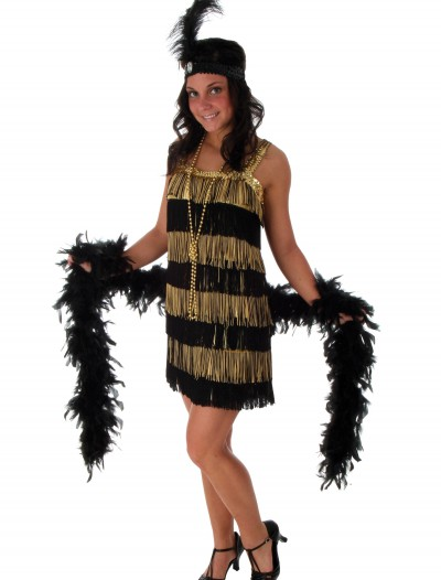 Plus Size Fringe Gold Flapper Costume buy now