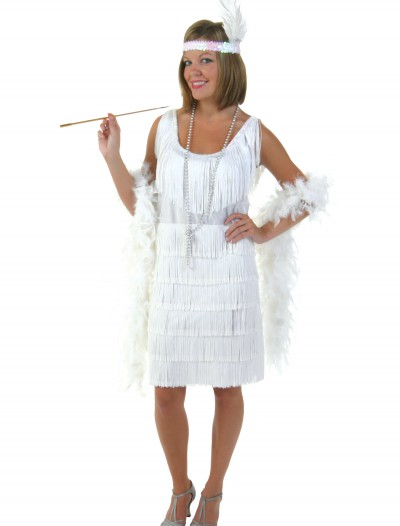 Plus Size White Flapper Girl Costume buy now