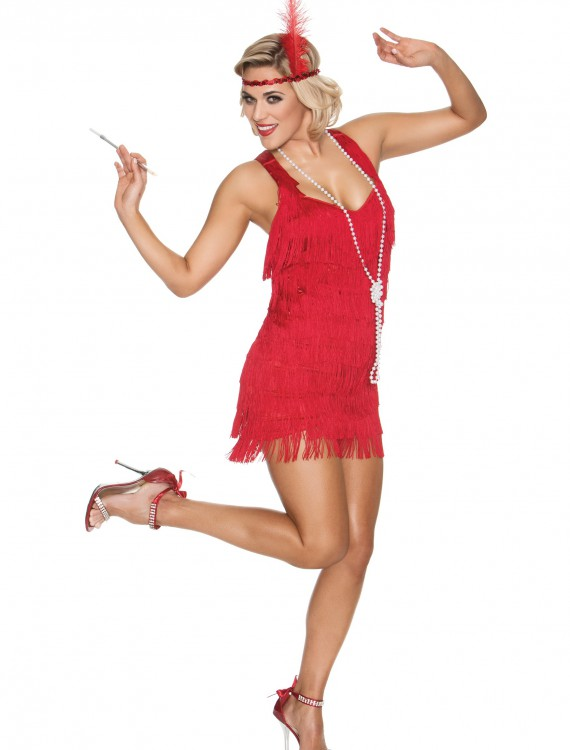 Red Lindy Lace Flapper Costume buy now