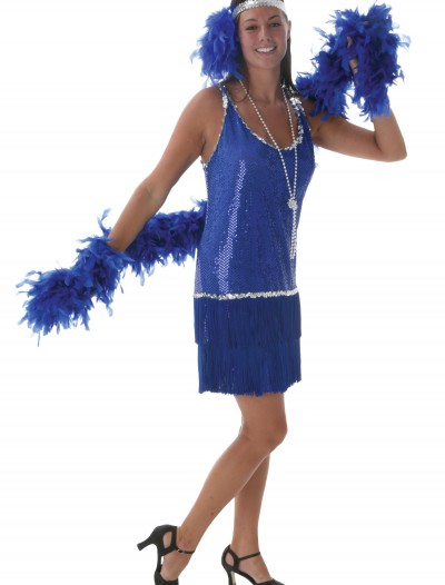 Royal Blue Sequin & Fringe Flapper Dress buy now