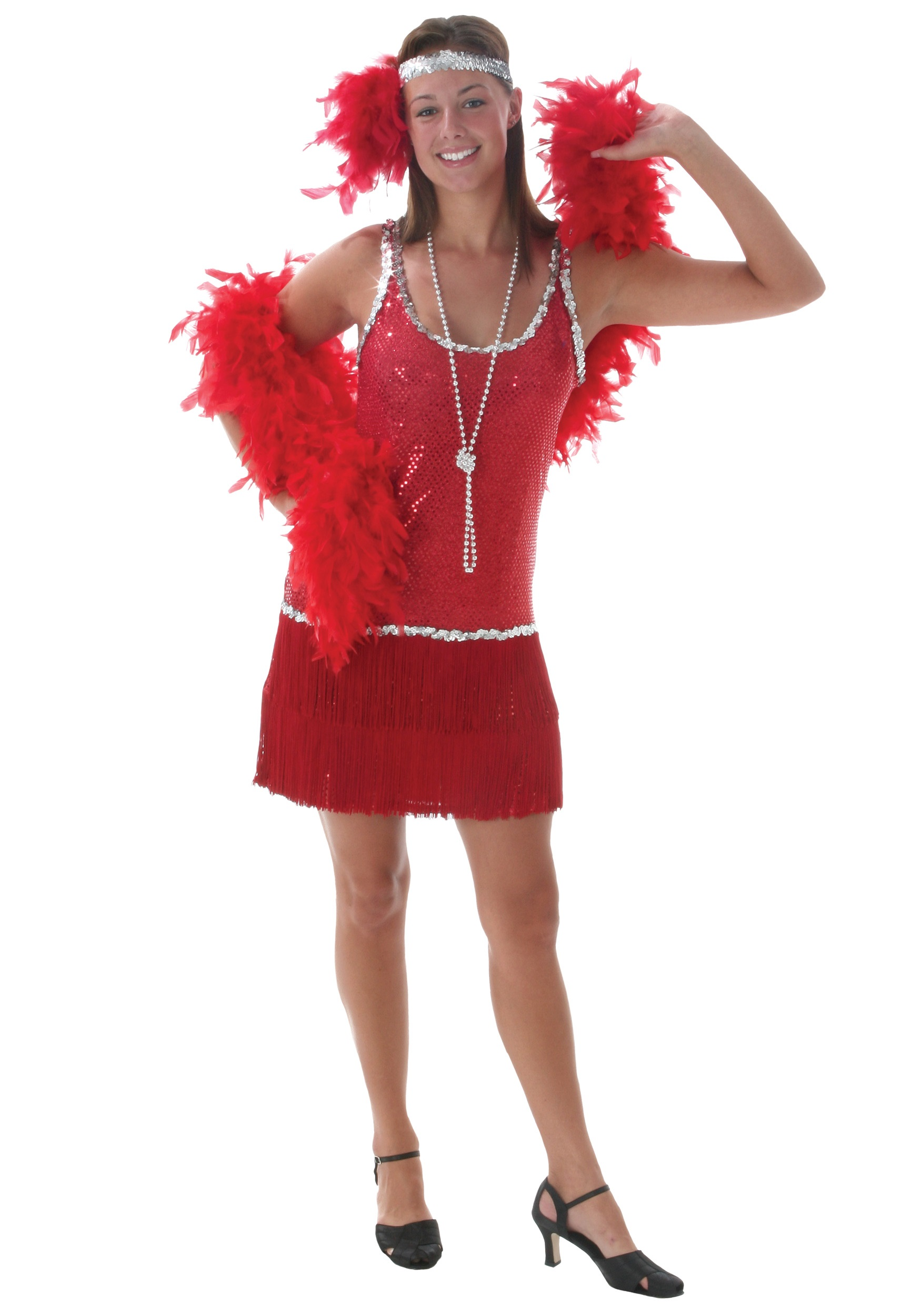 Sequin and Fringe Red Plus Size Flapper - Halloween Costumes