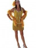 Sequin & Fringe Gold Flapper Costume Plus Size buy now