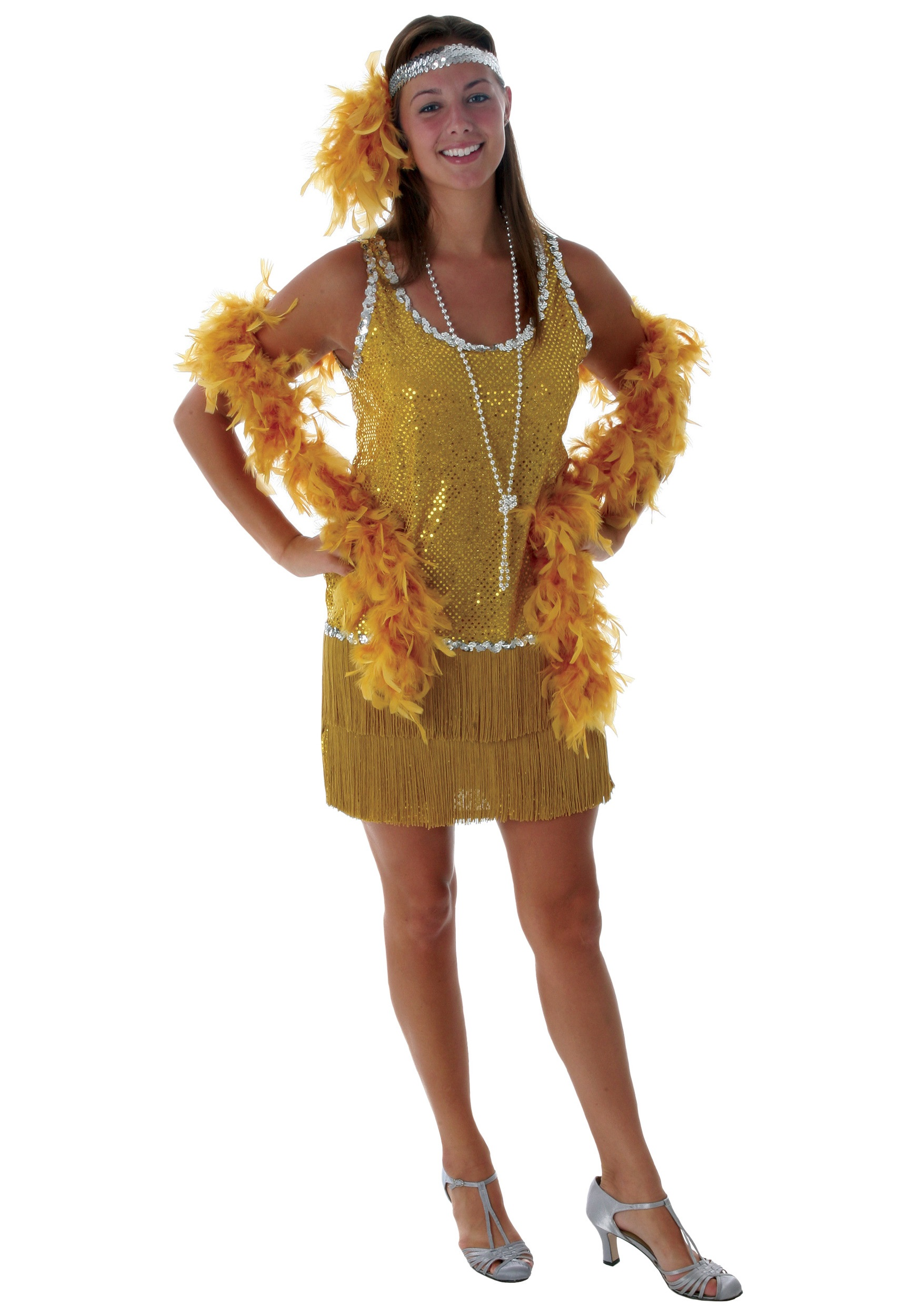 Sequin & Fringe Gold Flapper Costume Plus Size - Halloween Costumes