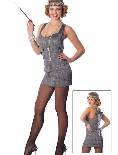 Sexy Silver Lindy Lace Flapper Costume buy now