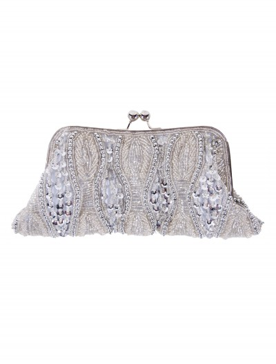 Silver Beaded Bag with Long Chain buy now