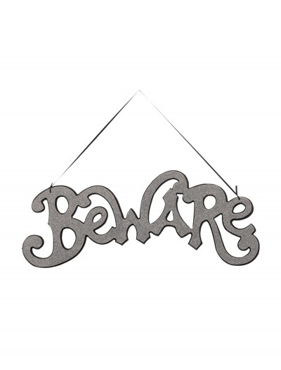 Silver Beware Cutout Sign buy now