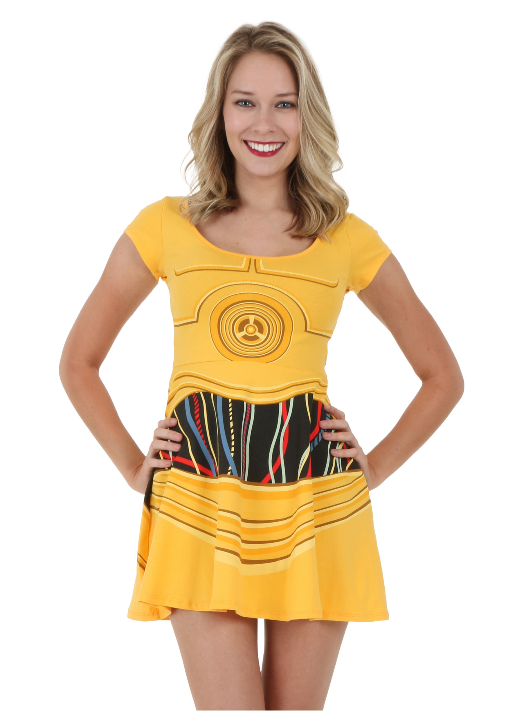 star wars c3po skater dress - halloween costumes