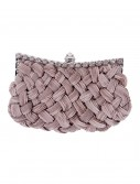Taupe Braided Chiffon Bag with Long Chain buy now
