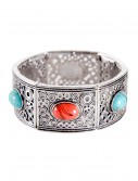 Turquoise and Coral Stone Silver Bracelet buy now