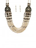 White Beaded Indian Necklace and Earrings buy now