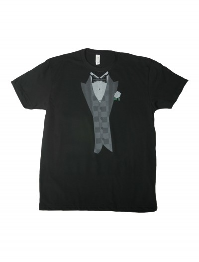 White Flower Black Tuxedo Costume T-Shirt buy now
