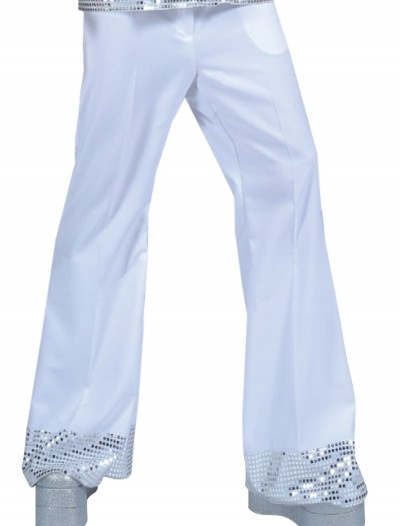 White Sequin Cuff Disco Pants buy now